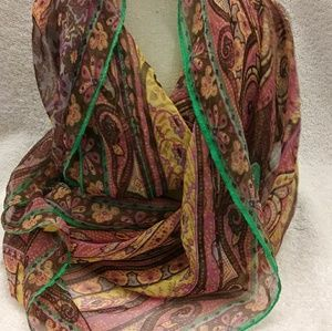 Accessories - Dressy Infinity scarf brown green pink